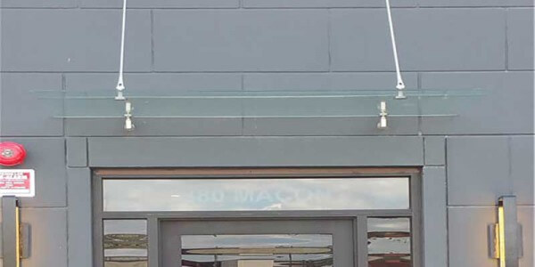 frameless clear glass simple canopy
