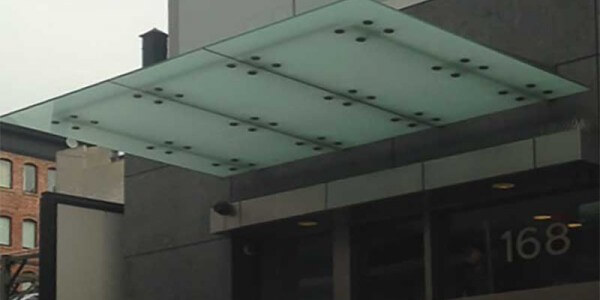 frameless frosted glass canopy