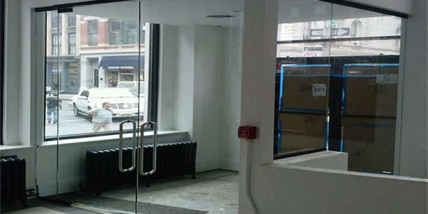 clear glass entrance office doors