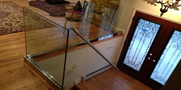 installation interior glass railing residential house brooklyn nyc