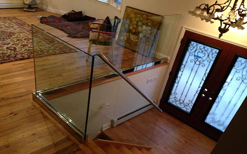 Nice Installation Interior Glass Railing Residential House Brooklyn Nyc