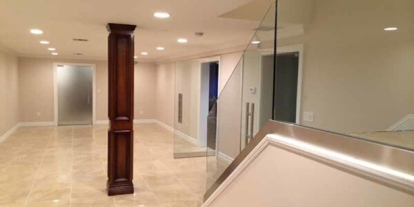 installation interior glass railing residential house queens nyc