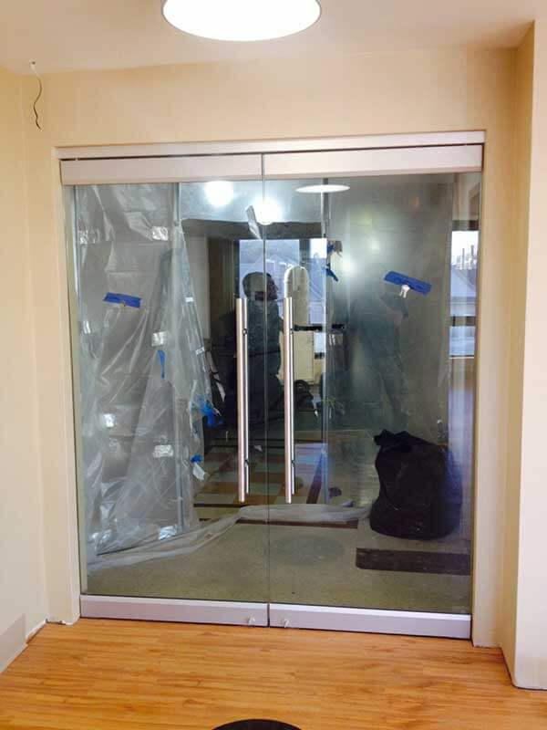 Clear Glass Double Frameless Office Door