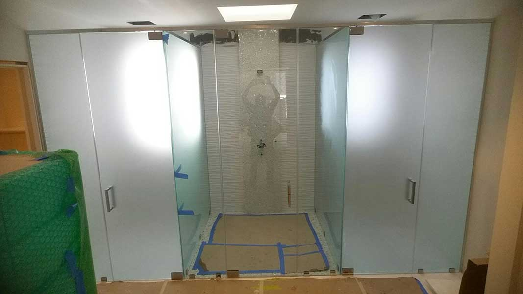 Etched Glass Bathroom Door
